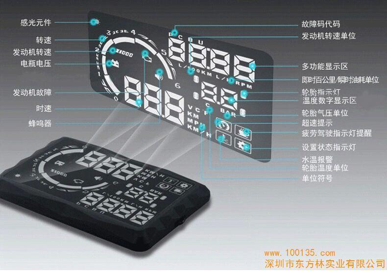 方正hud抬头显示器obd通用汽车载行车电脑屏油耗转速投影仪(图)