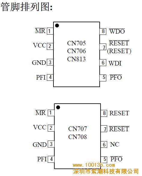 元器件 集成电路(ic) 单片机 > 供应cn707/cn708/cn813微处理器复位